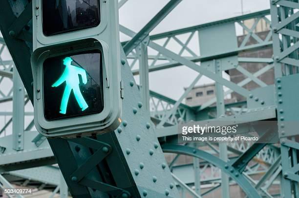 human shape in a traffic light - road signal stock-fotos und bilder