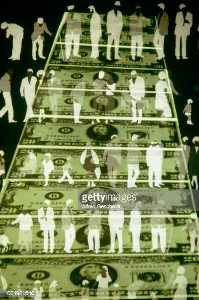 Human silhouettes superimposed on 20dollars banknotes US 1983