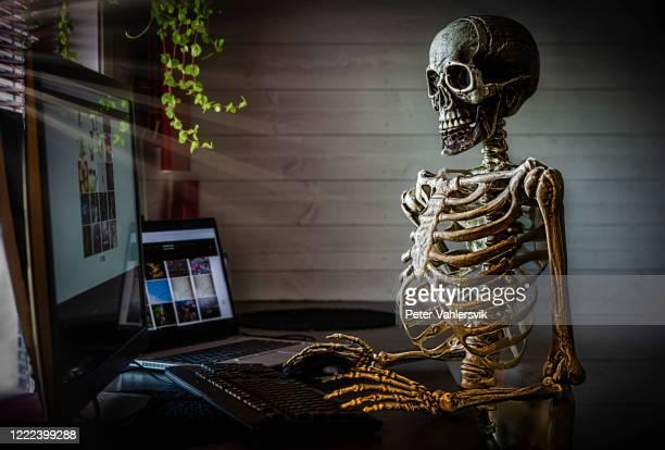 menschliches skelett im büro - menschliches skelett stock-fotos und bilder