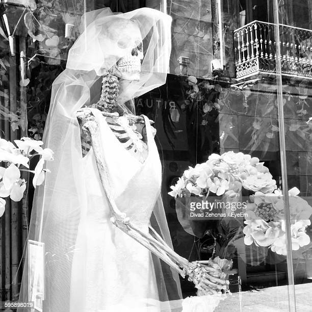 Human Skull In Wedding Dress Against Building Seen Through Glass Window