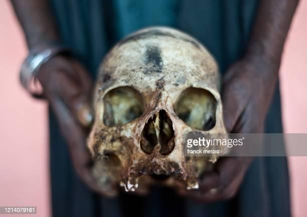 human skull ( india) - canibalismo imagens e fotografias de stock