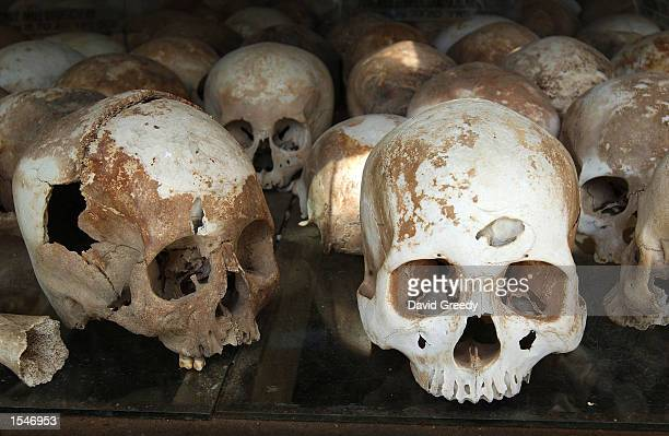 Human skulls are on display at the Choeung Ek Genocide Memorial June 1 2002 outside Phnom Penh Cambodia the remains of nearly 9000 men women and...