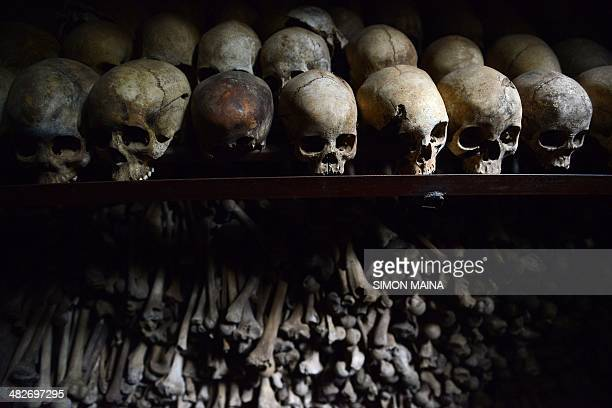 Human skulls preserved are exhibited on April at the Genocide memorial in Nyamata inside Catholic church where thousands were slaughtered during the...