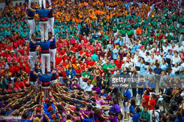 human tower built during the castellers competition in tarragona. - human towers competition tarragona stock photos and pictures