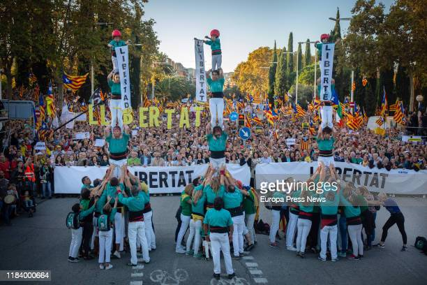 Human tower is seen during the independence demonstration in rejection of the 1-O sentence and to ask for the release of the prisoners on October 26,...