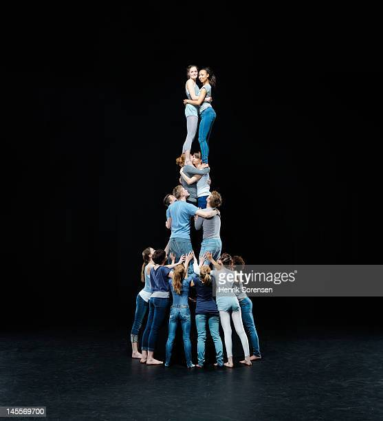 human tower - pyramid stock pictures, royalty-free photos & images
