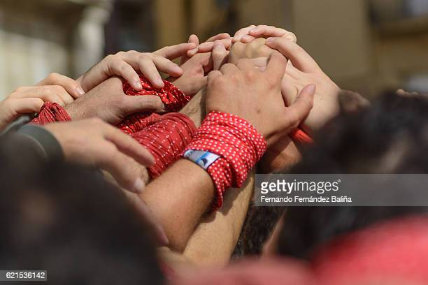 human tower - castellers stock photos and pictures