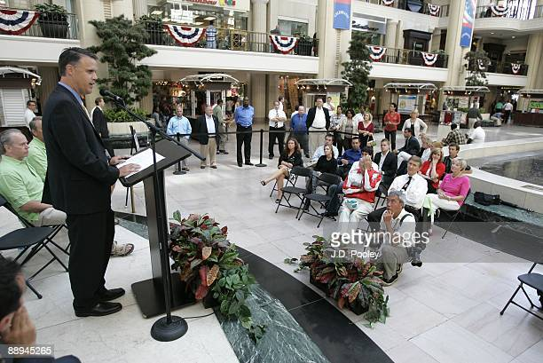 Humana President Kevin Meriwether speaks during the 2009 Humana & National Senior Games Athlete send-off tour at Tower City Center - Grand Staircase...