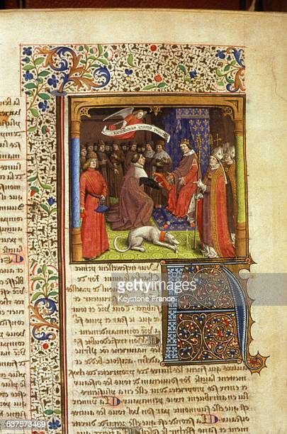 Humanist Raoul de Presles presents his translation of the Bible to King Charles V circa 1377