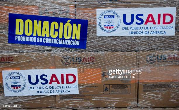 Humanitarian aid is seen in Cucuta Colombia on February 21 2019 at the Tienditas International Bridge which has been blocked with containers by...