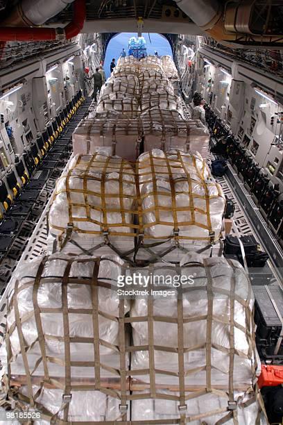 Humanitarian aid supplies loaded by Hawaii Air National Guard into a C-17 Globemaster III.