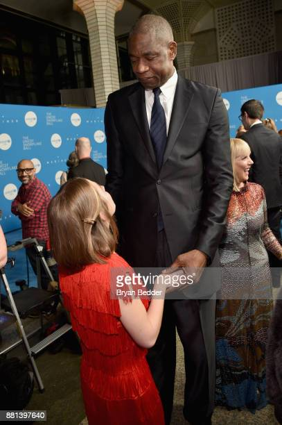 Humanitarian Award Honoree Lucy Meyer and UUSA National Board Member Dikembe Mutombo attend 13th Annual UNICEF Snowflake Ball 2017 at Cipriani Wall...