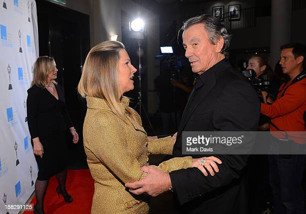 Humanitarian Award Honoree Maria Arena Bell and actor Eric Braeden attend the 14th Annual Women's Image Network Awards at Paramount Theater on the...