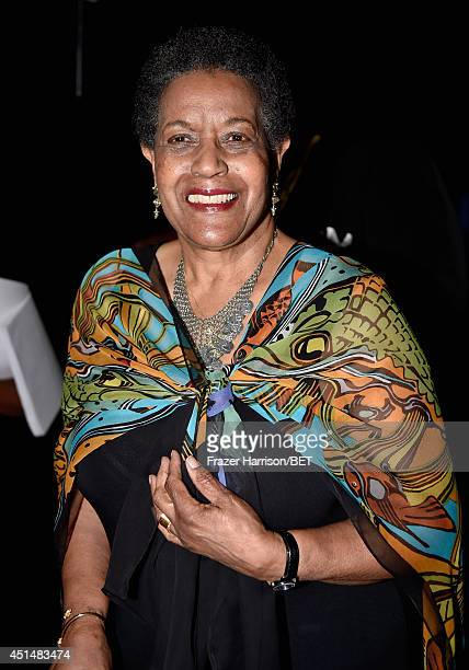 Humanitarian Award recipient civil rights activist Myrlie EversWilliams poses backstage at the BET AWARDS '14 at Nokia Theatre LA LIVE on June 29...