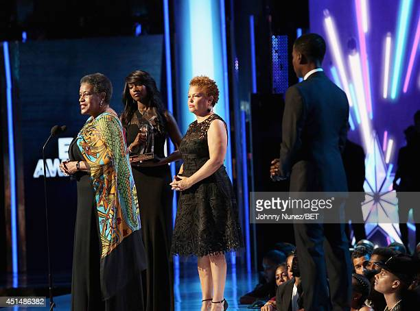 BET Humanitarian Award to civil rights activist Myrlie EversWilliams BET Networks Chairman CEO Debra L Lee and host Chris Rock speak onstage during...