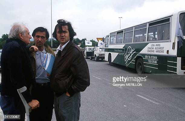 Humanitarian convoy 'Equilibre' In Sarajevo Bosnia And Herzegovina On June 16 1992 JF Deniau P DousteBlazy and BernardHenry Levy