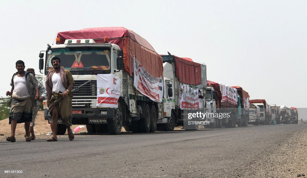 Yemen-conflict-YEMEN-SAUDI-UAE-CONFLICT-AID-TRANSPORT : News Photo