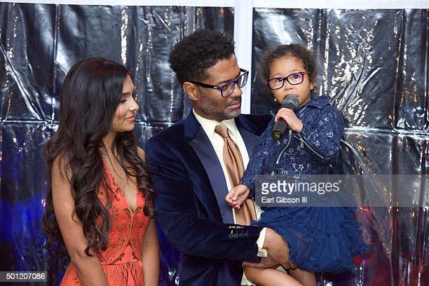 Humanitarian Manuela Testolini, Singer Eric Benet and Lucia Bella serve as host at the In A Perfect World 10 Year Celebration Of Giving on December...