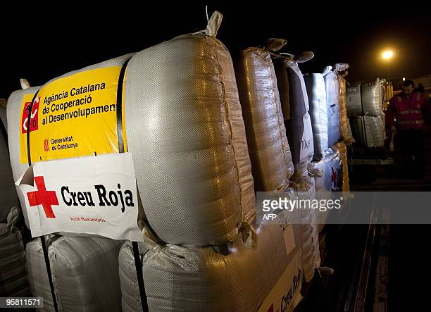 Humanitarian material is loaded on a plane chartered by the Spanish Red Cross ready to take off to Haiti from the tarmac of Barcelona's airport on...