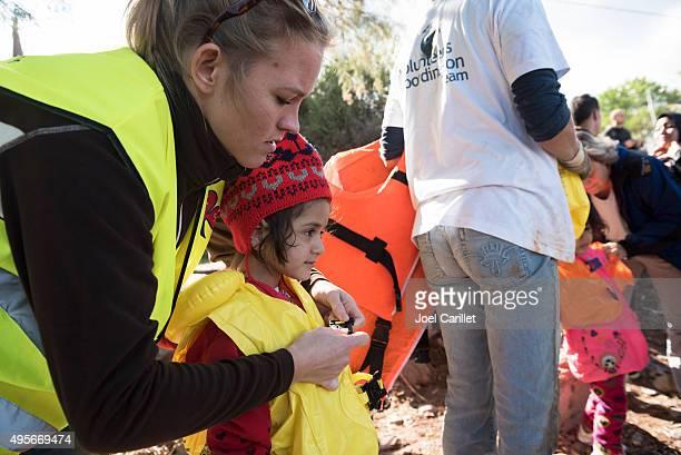 Humanitarian volunteer assisting migrants traveling to Europe