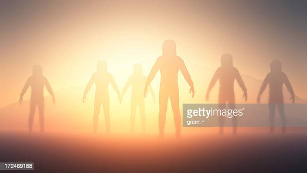 humanoid aliens exploring planet - military invasion stock pictures, royalty-free photos & images
