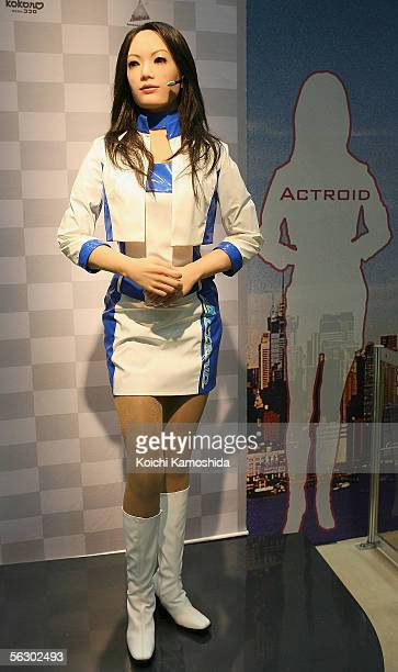 Humanoid robot 'Actroid' of Kokoro performs as a MC on the stage during 2005 International Robot Exhibition on November 30 2005 in Tokyo Japan...