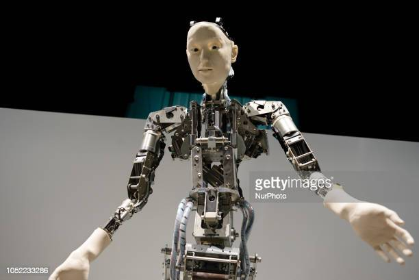 A humanoid robot called Alter developed by Hiroshi Ishiguro Laboratories to express lifelikeness through complex movements is exhibited at the...