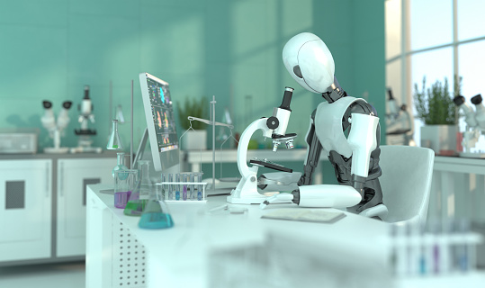 A humanoid robot in a laboratory works with a microscope. Scientific experiments. Future concept with smart robotics and artificial intelligence. 3D rendering. 1207532624