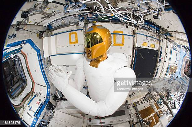 A humanoid robot in the Destiny laboratory of the International Space Station.