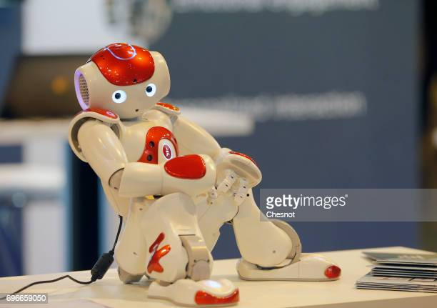 A 'NAO' humanoid robot manufactured by SoftBank Group Corp is displayed during the Viva Technology show on June 16 2017 in Paris France Viva...