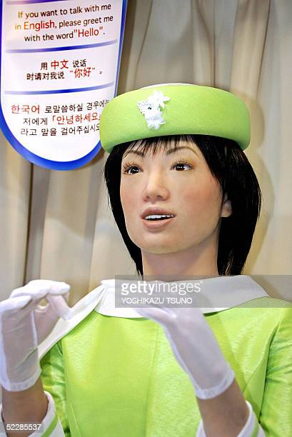 A humanoid robot named 'Actroid' able to recognise 40000 phrases in four languages Japanese Korean Chinese and English and developed by Japanese...