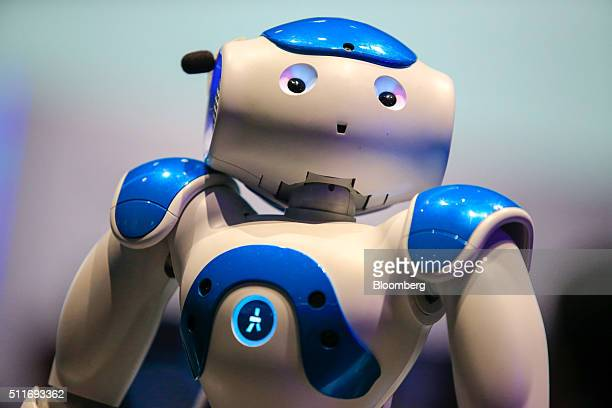 Humanoid robot powered by International Business Machines Corp. Watson technology sits on display at the Mobile World Congress in Barcelona, Spain,...
