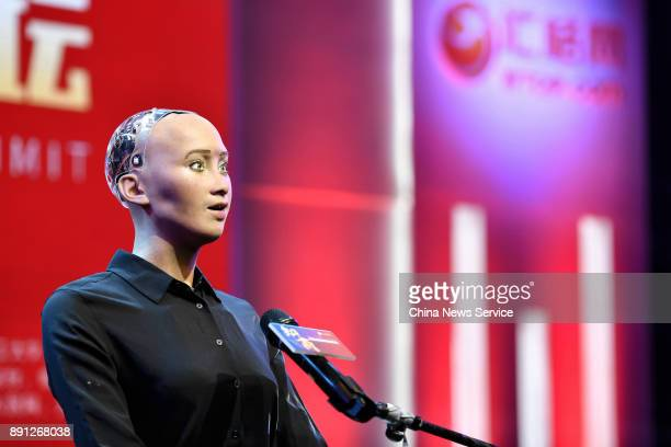 Humanoid robot Sophia attends 2017 Guangzhou International IP Business Summit on December 12 2017 in Guangzhou Guangdong Province of China