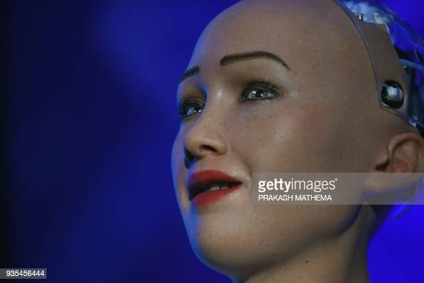 Humanoid robot Sophia speaks at a conference on using technology for public services in Kathmandu on March 21 2018 Sophia a robot created by Hanson...