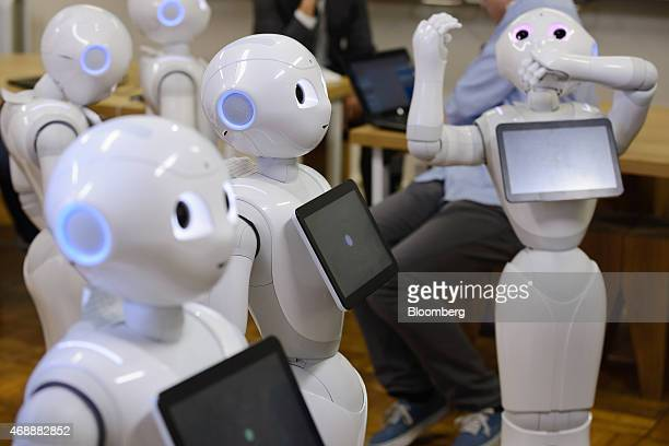 Humanoid robots named Pepper developed by SoftBank Corp's Aldebaran Robotics unit stand as attendees work during a Softbank developer's workshop for...