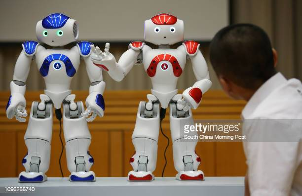 Humanoid robots on display in a press conference led by The Chinese University of Hong Kong to release research findings on the effectiveness of...