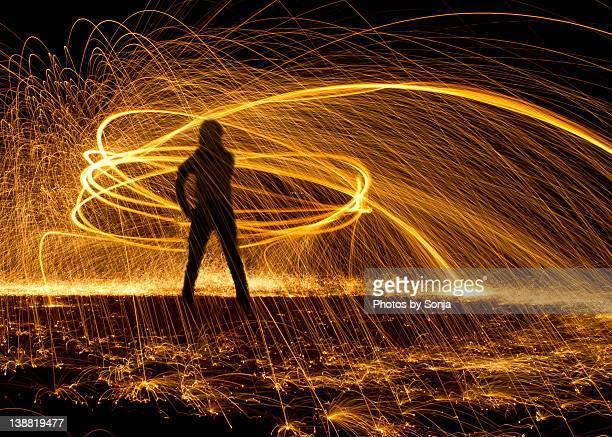 Humans making energy - steel wool light painting
