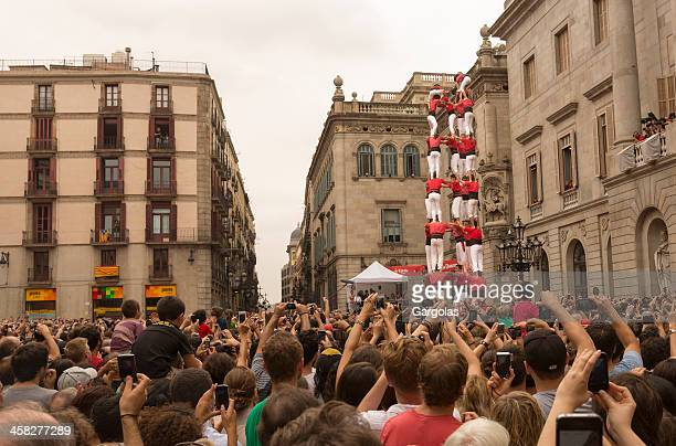 humans tower contest in barcelona merce 2012 - castellers stock photos and pictures