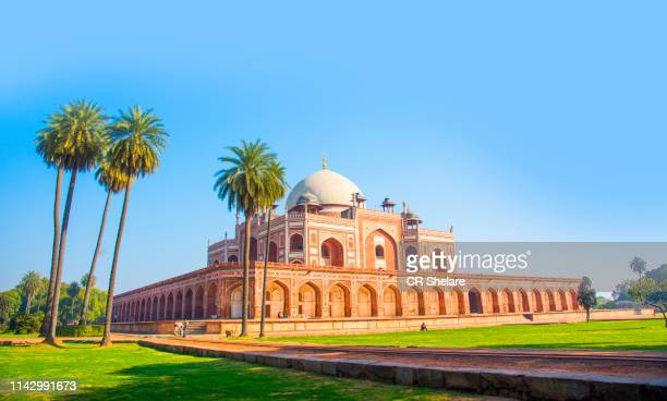 humayun's tomb, delhi, india, the tomb of the mughal emperor humayun built in 1565, unesco world heritage site - unesco stockfoto's en -beelden