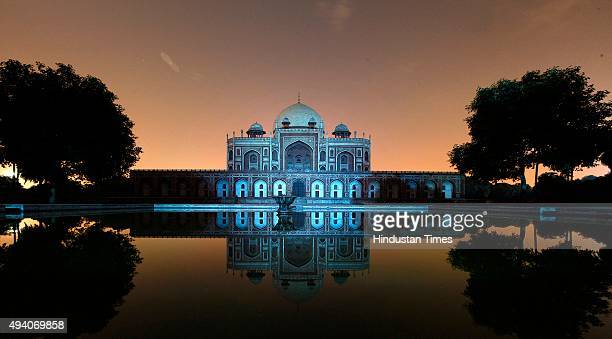 Humayun's Tomb lit by blue light to commemorate the 70th anniversary of the United Nations on October 24 2015 in New Delhi India The day marks the...