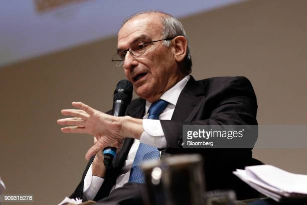 Humberto de la Calle presidential candidate for the Colombian Liberal Party speaks during a National Environmental Forum discussion in Bogota...