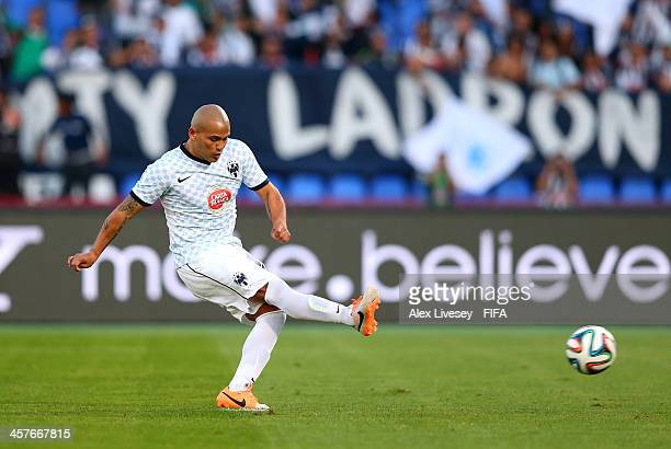Humberto Suazo of CF Monterrey scores his goal from the penalty spot during the FIFA Club World Cup 5th place match between Al Ahly SC and CF...