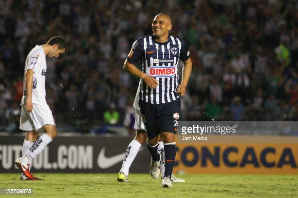 Humberto Suazo of Monterrey celebrates a scored goal during a match against Comunicaciones as part of the Concacaf Champions League 2011-2012 at...