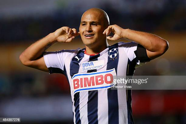 Humberto Suazo of Monterrey celebrates after scoring the only goal of a match between Queretaro and Monterrey as part of 7th round Apertura 2014 Liga...