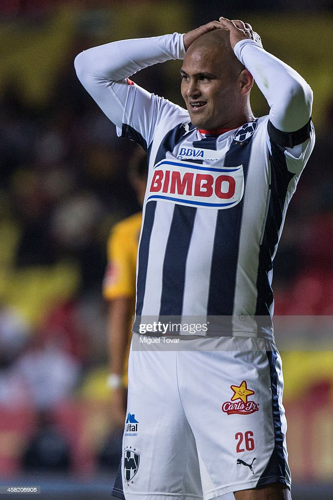 Humberto Suazo of Monterrey reacts after missing a chance during a match between Morelia and Monterrey as part of 15th round Apertura 2014 Liga MX at Jose Maria Morelos y Pavon Stadium on October 31, 2014 in Morelia, Mexico.