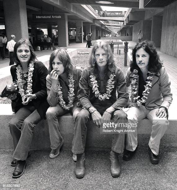 Humble Pie group portrait Honolulu Airport Hawaii United States 1972 LR Steve Marriott Clem Clempson Greg Ridley Jerry Shirley