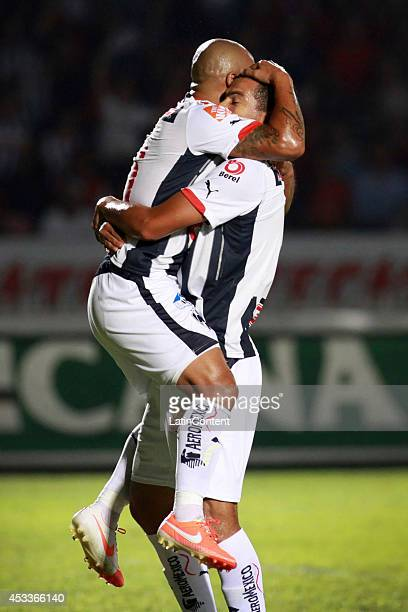 Humerto Suazo of Rayados de Monterrey celebrates the first goal of his team during a match between Tiburones Rojos and Rayados de Monterrey as part...