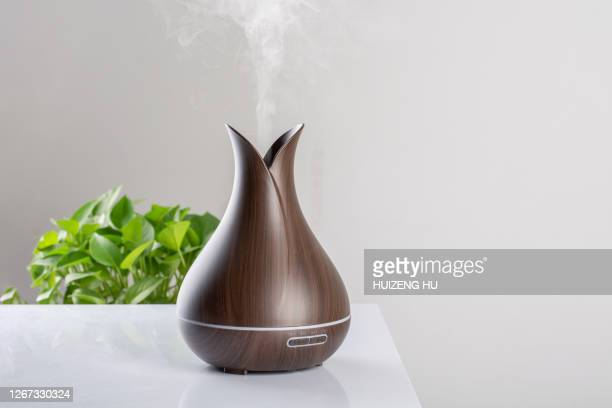 humidifier on the table at home and spreading steam into the living room - humidifier stock pictures, royalty-free photos & images
