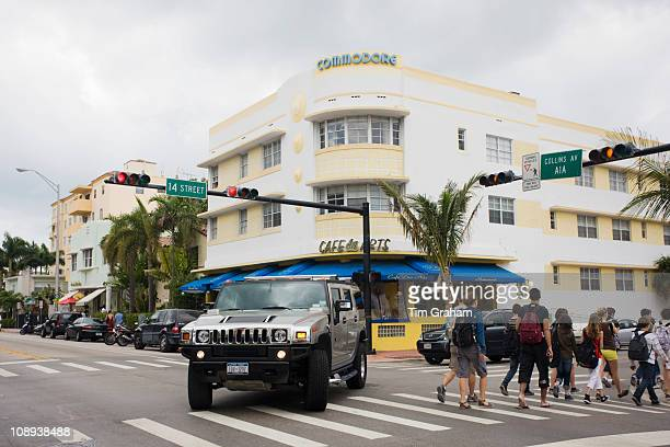 Hummer at corner of Collins Avenue and 14th Street by the Commodore and Cafe des Arts South Beach Miami USA