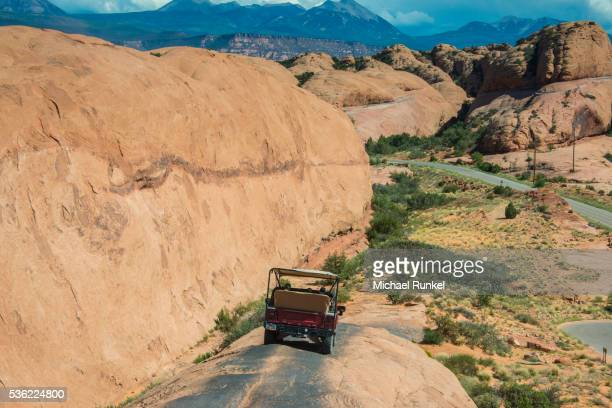 Hummer driving on the Slickrock trail, Moab, Utah, United States of America, North America